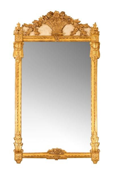 Miroir de forme rectangulaire orné de rubans...