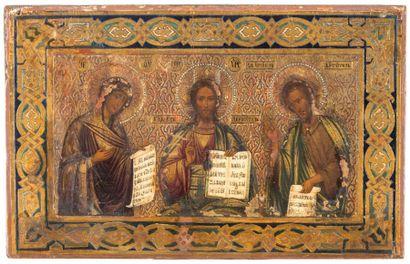 Icône représentant la Déisis Le Christ trônant...