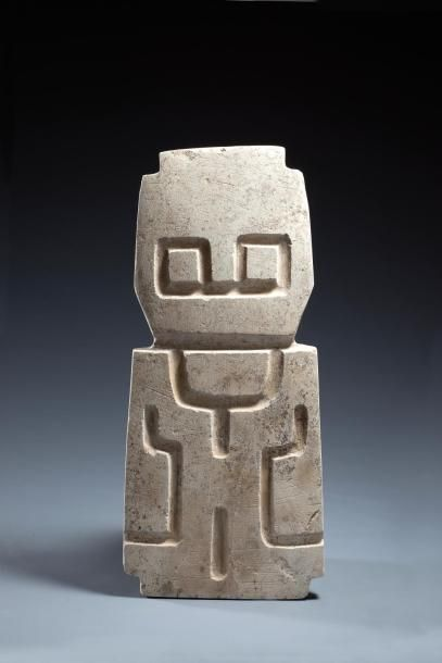Stèle chamane hibou  Idole représentant un chamane en état de transformation de...