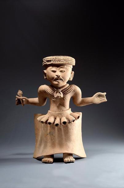 Chamane dansant  Importante statue anthropomorphe...