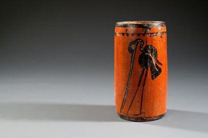 Vase au héron  Vase en forme de cylindre,...