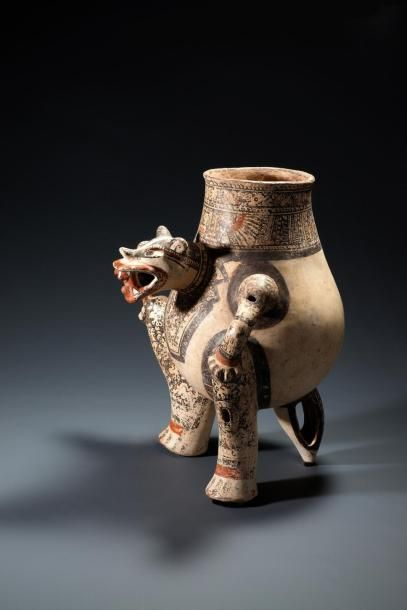 Dragon à fond blanc  Vase en forme de jaguar...