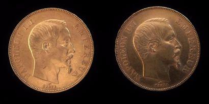 Un lot de deux pièces en or de 50 francs...