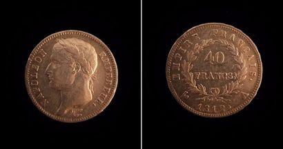 Une pièce en or de 40 francs  1812 A