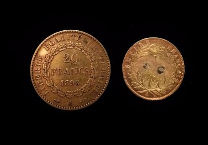 Deux pièces en or :  - 20 FF 1896 A  - 10...