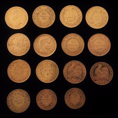 Un lot de 15 pièces de monnaies d'or dont...