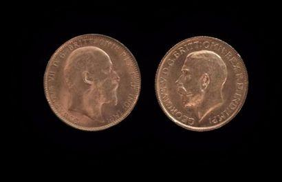 Deux souverains or  Edouard VII 1907 et Georges...