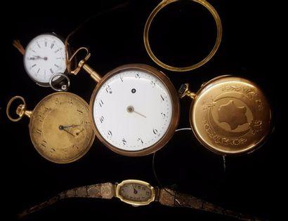 Lot de montres :  - trois gousset en or jaune...