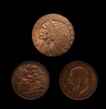 Lot de trois pièces en or :  - 2 x Georges...