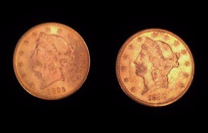 Deux pièces en or de 20 dollars  1889 et...