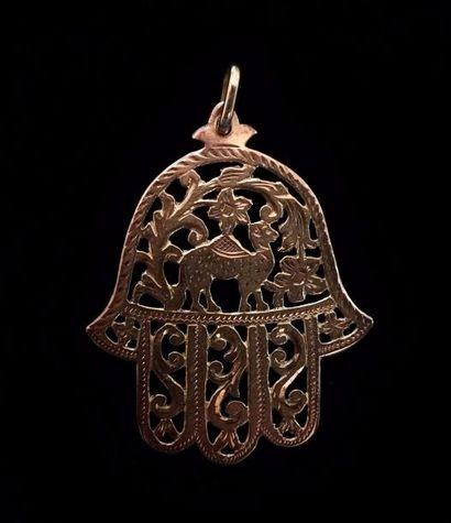 Khamsa en pendentif en or jaune 9 K (375...