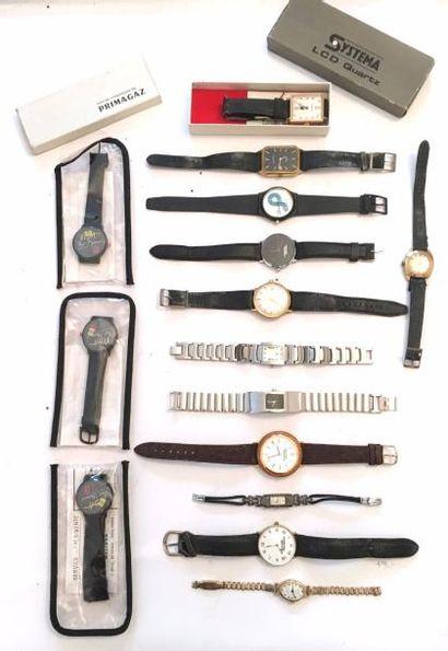Lot de montres diverses, notamment publicitaires...