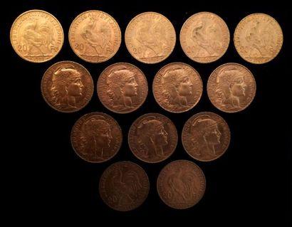 14 pièces de 20 FF or  1907 x 4, 1909, 1912,...