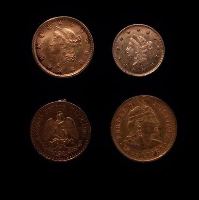Lot de quatre pièces en or :  - 1 dollar...
