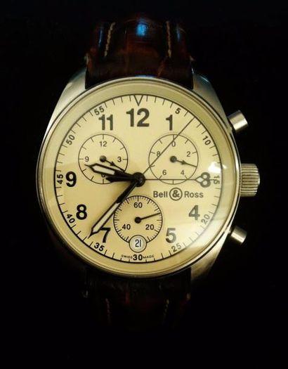 BELL & ROSS  Montre chronographe en acier,...