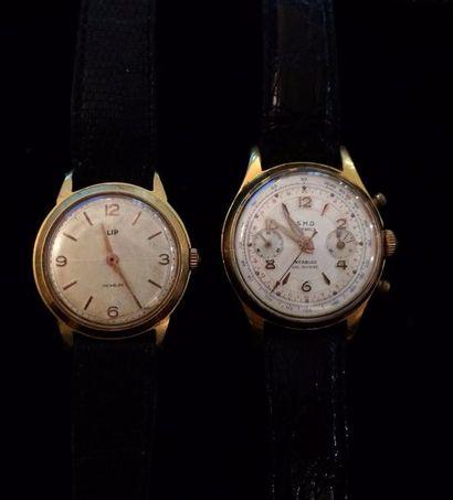Deux montres d'homme LIP et SHD en acier...