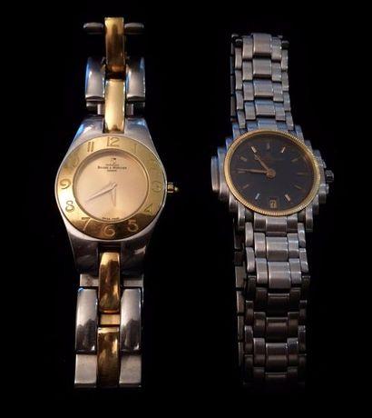 BAUME & MERCIER  Lot de deux montres bracelets...