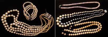 Lot de divers colliers et bracelet de perles...