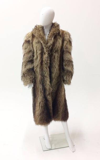 Long manteau en fourrure de renard, manches...