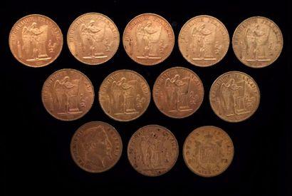 12 pièces de 20 FF or  1862B, 1863B, 1876A...