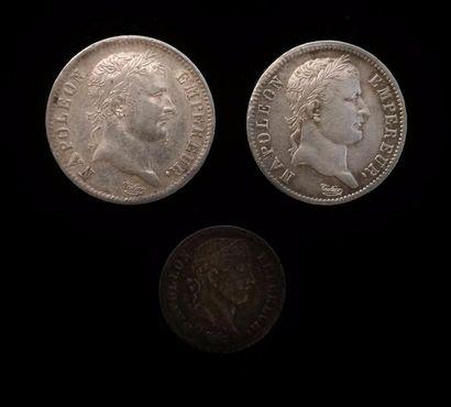 NAPOLEON I (1804 - 1814)  Lot de trois pièces...