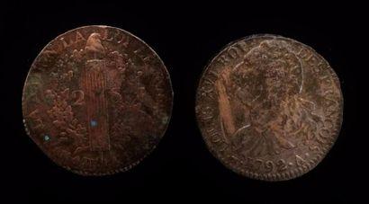 LOUIS XVI (1774 -1793)  Deux pièces de 2...