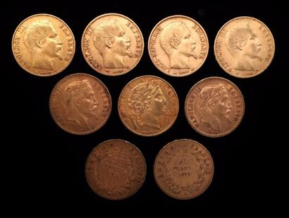 Neuf pièces de 20 FF or  1851A, 1852A, 1855B,...