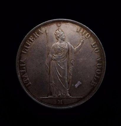 ITALIE, LOMBARDIE  5 lire 1848 Milan du Gouvernement...
