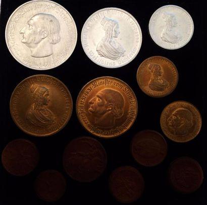 ALLEMAGNE  Lot de 13 monnaies de la période...