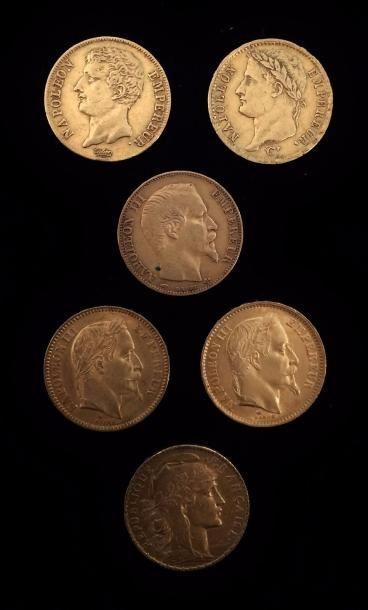 Lot de six pièces de 20 FF or :  an 12 A,...