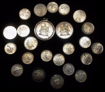 Lot de pièces en argent :  14 x 2 FF - 2...
