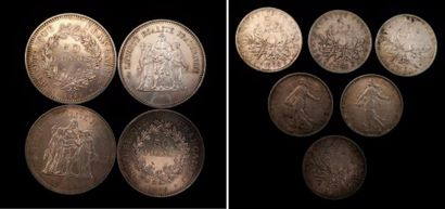 Lot de pièces en argent :  - 4 x 50 FF  - 6 x 5 FF