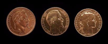 Trois pièces de 20 FF or  1910,1858B, 18...
