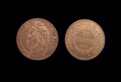 Deux pièces de 20 FF or  1849 A et 1840