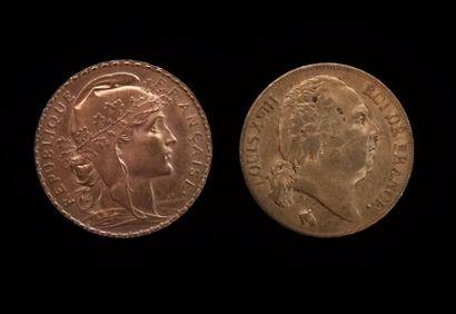 Deux pièces de 20 francs or  Louis XVIII...