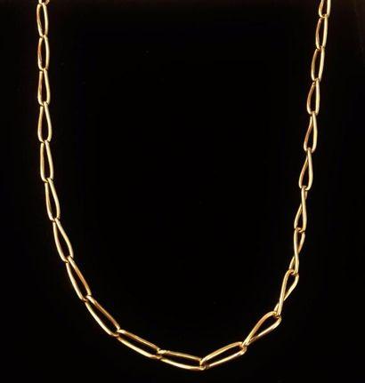 Chaine giletière en or jaune 18 K (750 °/°°)  Poids : 17,5 gr.