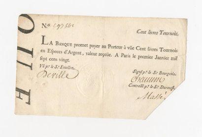 BANQUE ROYALE de LAW. Billet de 100 livres...
