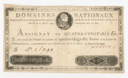 ASSIGNAT de 90 livres du 29 septembre 1790...