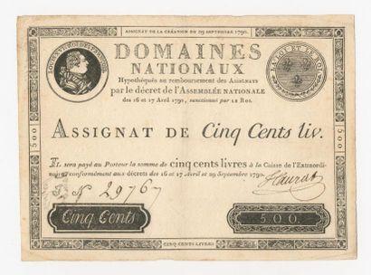 ASSIGNAT de 500 livres du 29 septembre 1790....