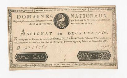 ASSIGNAT de 200 livres du 12 septembre 1791....