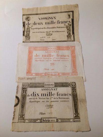 ASSIGNATS de 1000, 2000 et 10000 francs du...