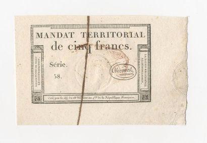 MANDAT TERRITORIAL de 5 francs à cachet rouge,...