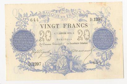 20 F type 1871. F. A46 du 7.1.1873.  TTB,...