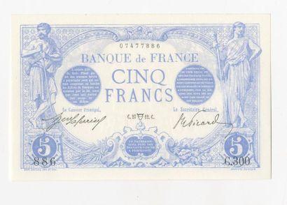 5 F Bleu. F 2/4 du 27.4.1912.  Splendide
