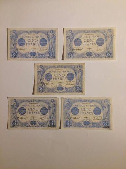 5 F Bleu de 1916. Lot de 5 billets pour mai,...