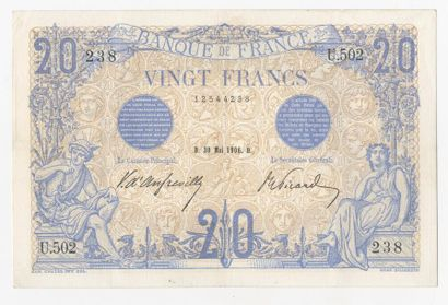 20 F Bleu du 30.1.1906. F 10/1.  TTB à S...
