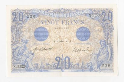 20 F Bleu du 18.7.1912. F 10/2.  Superbe...