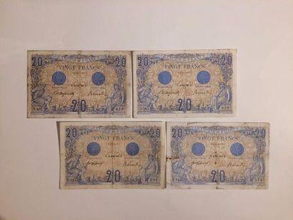 20 F Bleu type 1905. Lot de 4 ex. F 10/1...