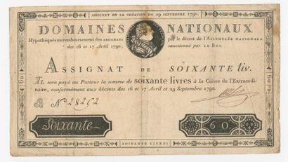ASSIGNAT de 60 livres du 29 septembre 1790....