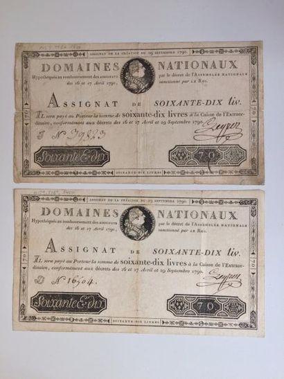 ASSIGNAT de 70 livres du 29 septembre 1790....